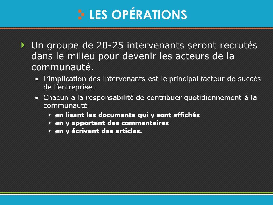 LES OPÉRATIONS Un groupe de 20-25 intervenants seront recrutés dans le milieu pour devenir les acteurs de la communauté.