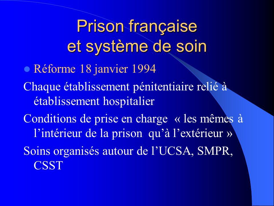 Prison française et système de soin Réforme 18 janvier 1994 Chaque établissement pénitentiaire relié à établissement hospitalier Conditions de prise e
