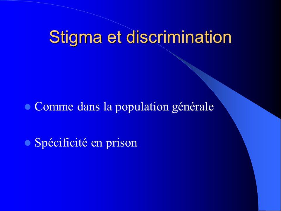 Stigma et discrimination Comme dans la population générale Spécificité en prison