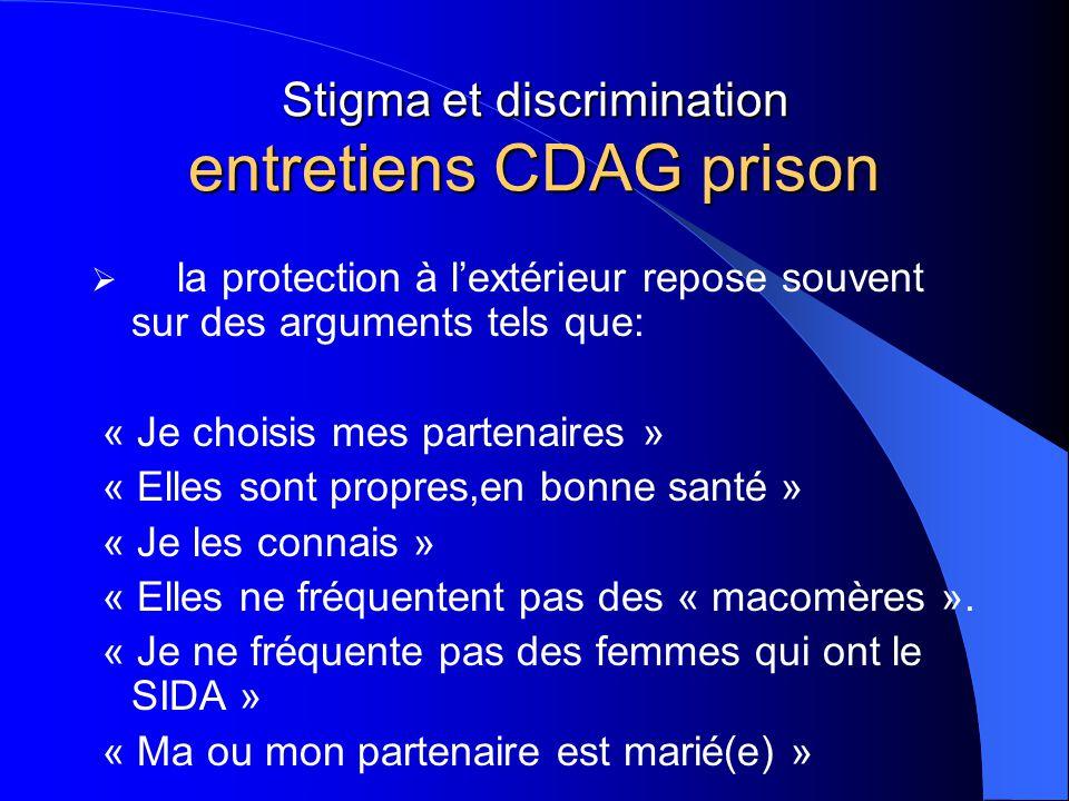 Stigma et discrimination entretiens CDAG prison  la protection à l'extérieur repose souvent sur des arguments tels que: « Je choisis mes partenaires