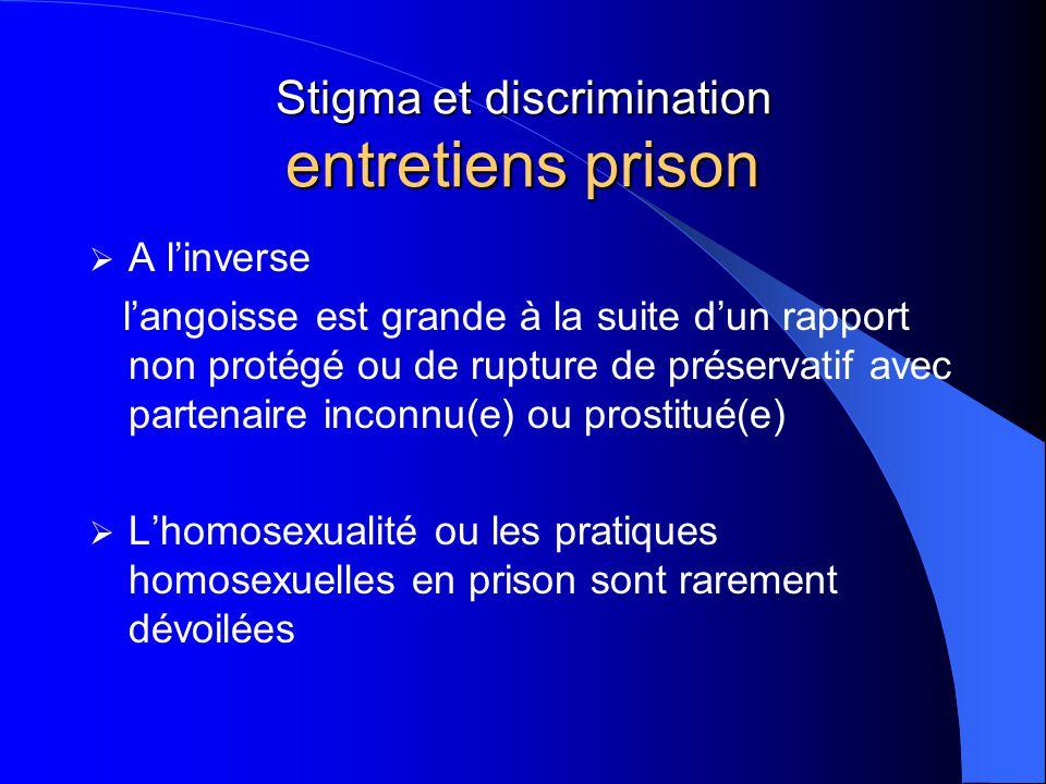 Stigma et discrimination entretiens prison  A l'inverse l'angoisse est grande à la suite d'un rapport non protégé ou de rupture de préservatif avec p