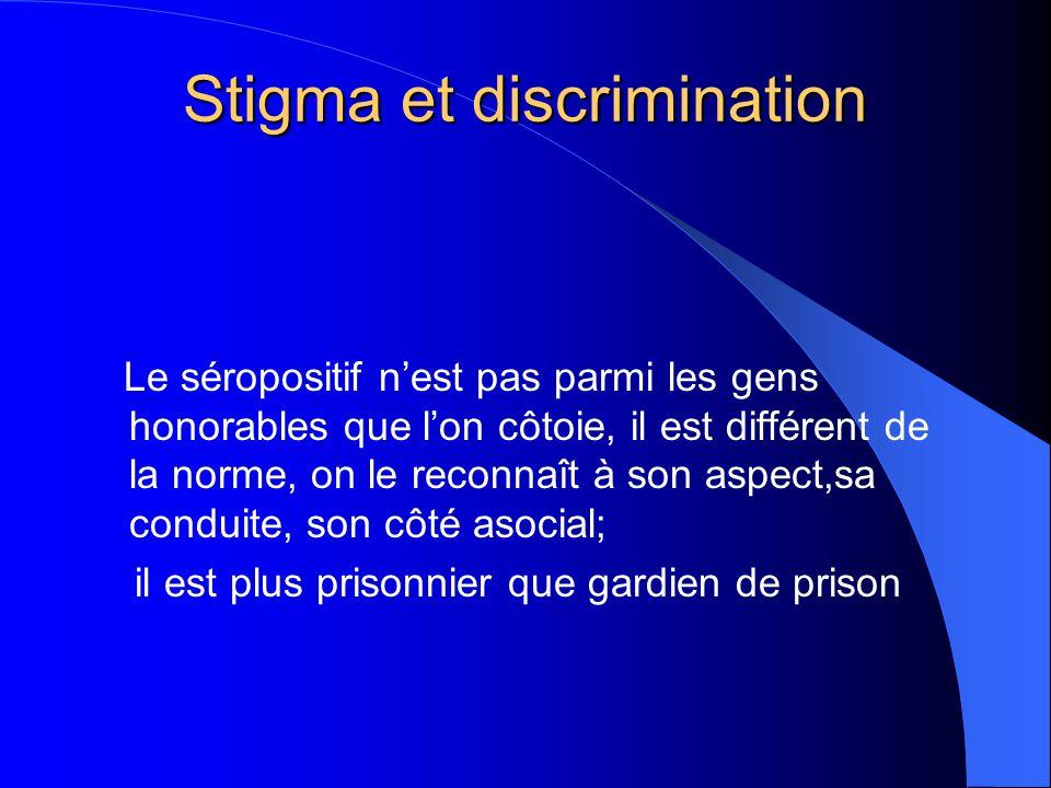 Stigma et discrimination Le séropositif n'est pas parmi les gens honorables que l'on côtoie, il est différent de la norme, on le reconnaît à son aspec