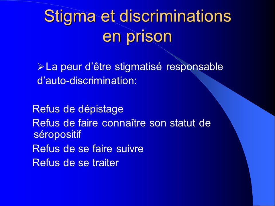 Stigma et discriminations en prison  La peur d'être stigmatisé responsable d'auto-discrimination: Refus de dépistage Refus de faire connaître son sta