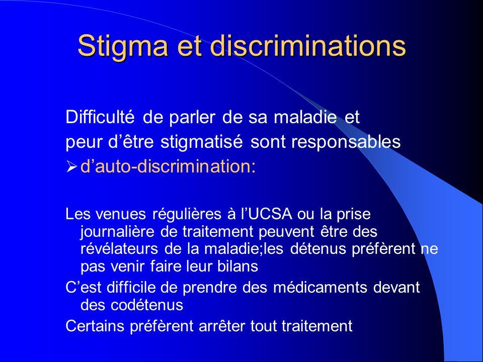 Stigma et discriminations Difficulté de parler de sa maladie et peur d'être stigmatisé sont responsables  d'auto-discrimination: Les venues régulière