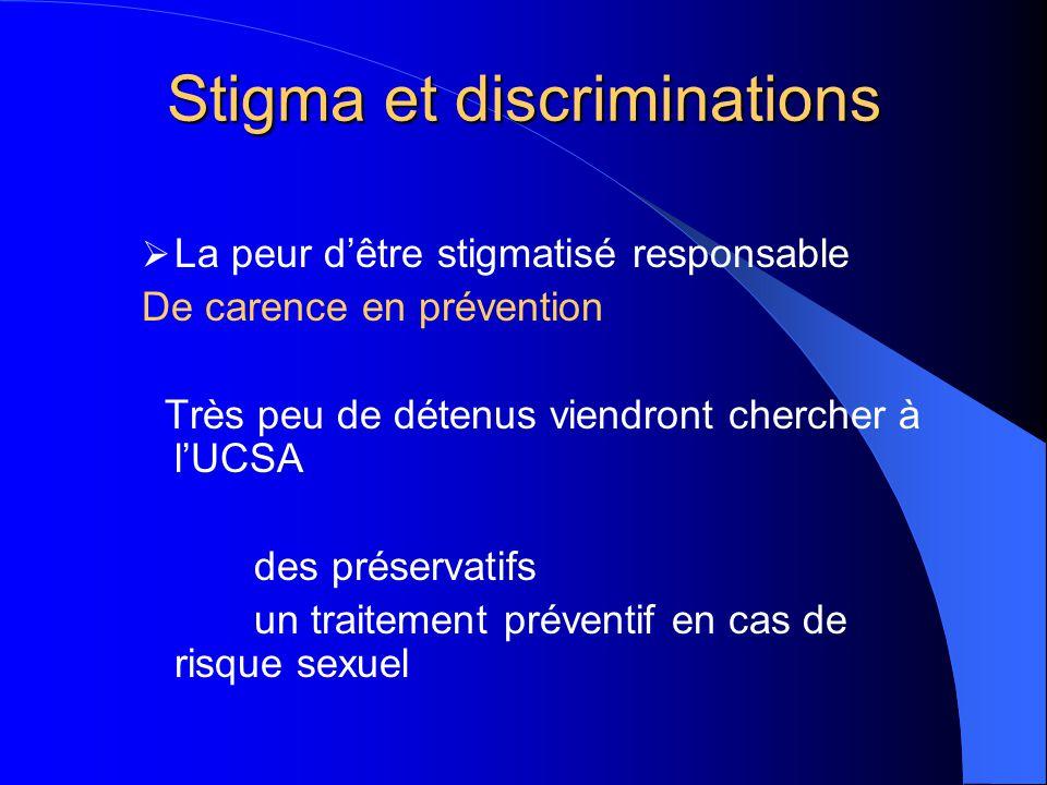 Stigma et discriminations  La peur d'être stigmatisé responsable De carence en prévention Très peu de détenus viendront chercher à l'UCSA des préserv