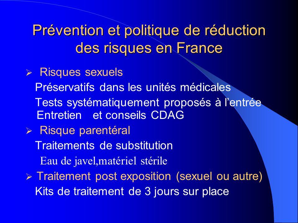 Prévention et politique de réduction des risques en France  Risques sexuels Préservatifs dans les unités médicales Tests systématiquement proposés à