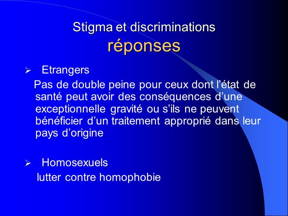 Stigma et discriminations réponses  Etrangers Pas de double peine pour ceux dont l'état de santé peut avoir des conséquences d'une exceptionnelle gra