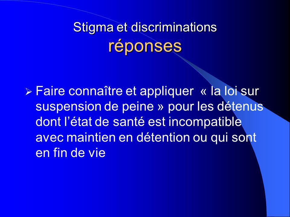 Stigma et discriminations réponses  Faire connaître et appliquer « la loi sur suspension de peine » pour les détenus dont l'état de santé est incompa