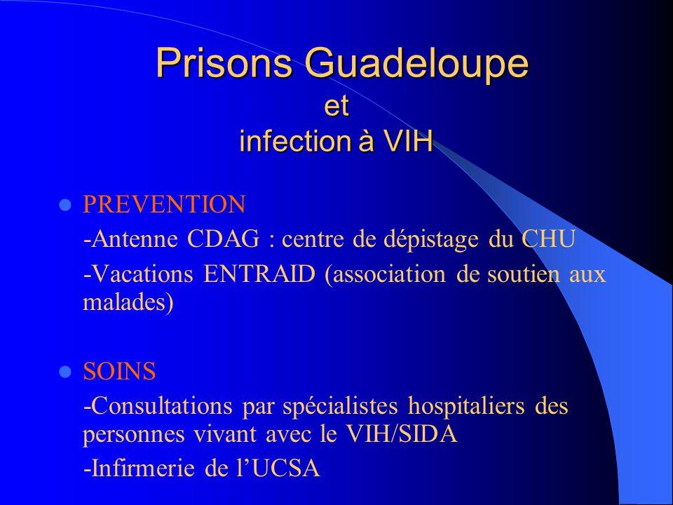 Antenne du centre de dépistage Entretiens de prévention et rendu des résultats de tests réalisés - à l'entrée au centre pénitentiaire ou - à la demande des détenus