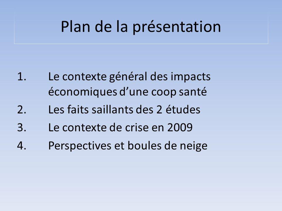 Plan de la présentation 1. Le contexte général des impacts économiques d'une coop santé 2. Les faits saillants des 2 études 3. Le contexte de crise en