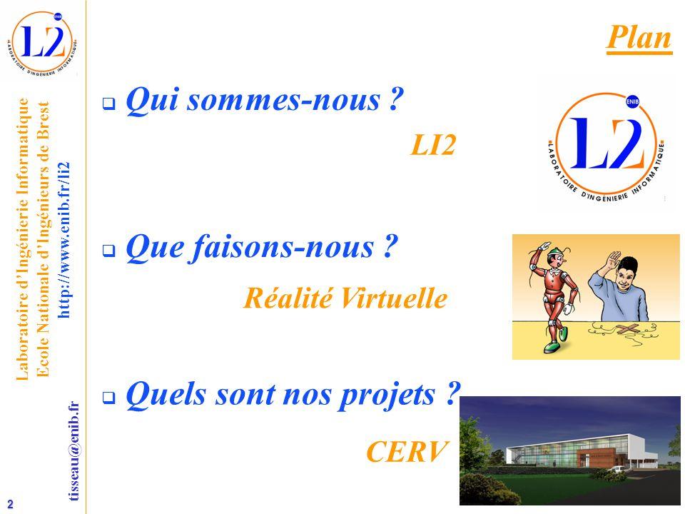 2 tisseau@enib.fr Laboratoire d'Ingénierie Informatique Ecole Nationale d'Ingénieurs de Brest http://www.enib.fr/li2 Plan  Qui sommes-nous .