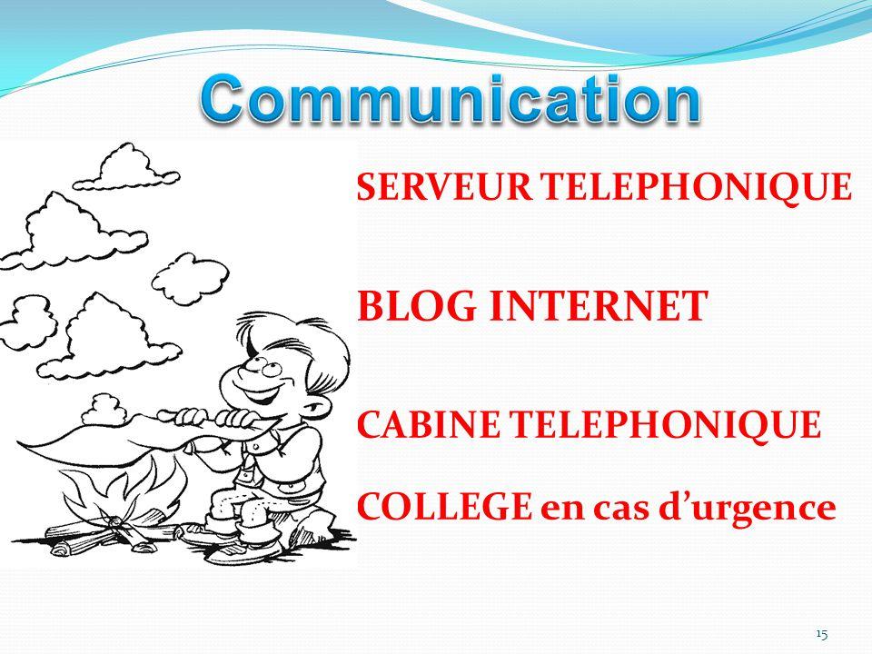 SERVEUR TELEPHONIQUE BLOG INTERNET CABINE TELEPHONIQUE COLLEGE en cas d'urgence 15