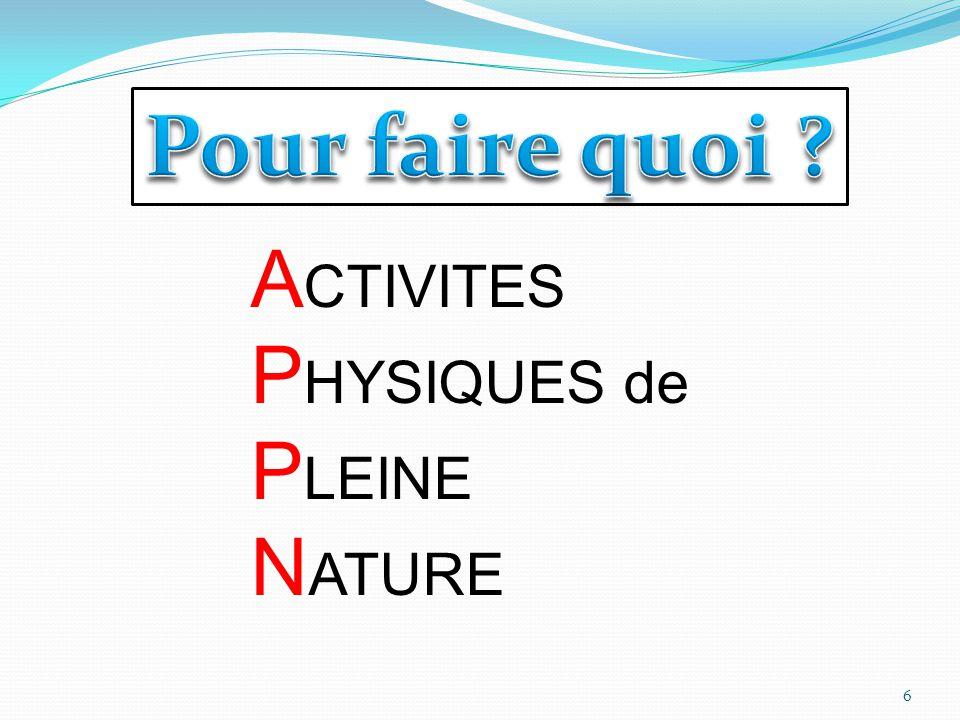 A CTIVITES P HYSIQUES de P LEINE N ATURE 6