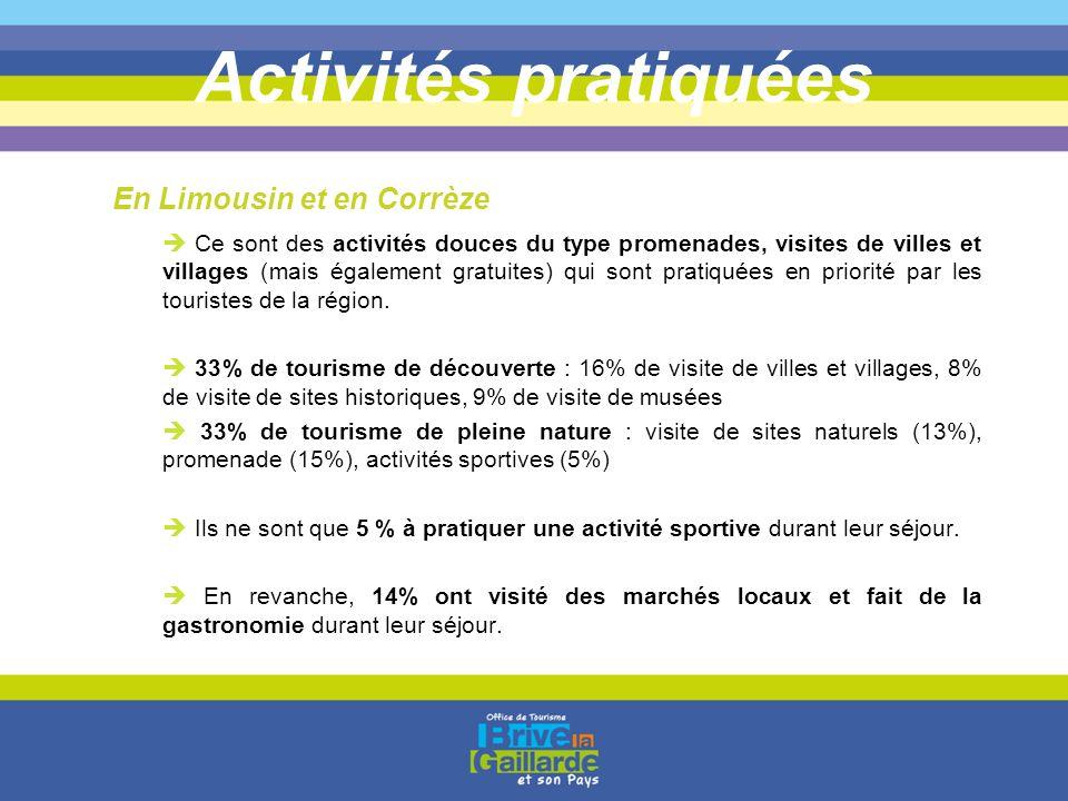 Activités pratiquées  Ce sont des activités douces du type promenades, visites de villes et villages (mais également gratuites) qui sont pratiquées e