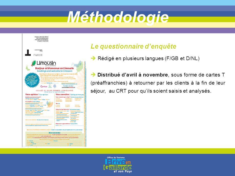 Méthodologie  Rédigé en plusieurs langues (F/GB et D/NL)  Distribué d'avril à novembre, sous forme de cartes T (préaffranchies) à retourner par les