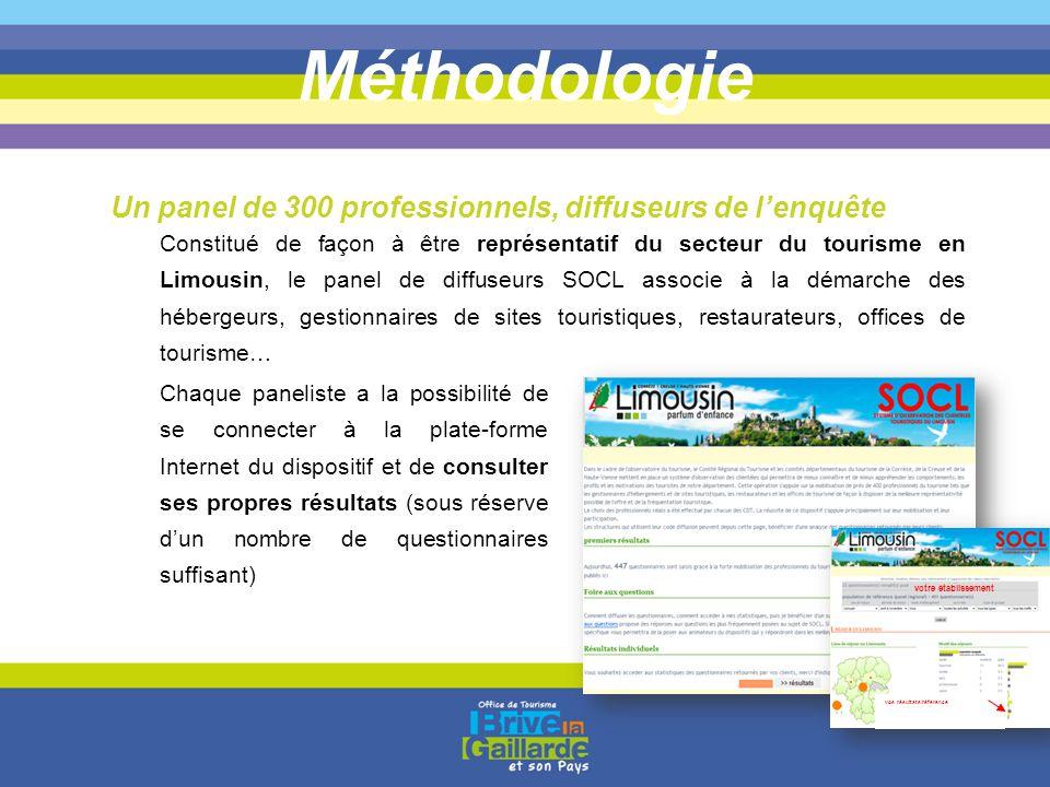 Méthodologie Constitué de façon à être représentatif du secteur du tourisme en Limousin, le panel de diffuseurs SOCL associe à la démarche des héberge