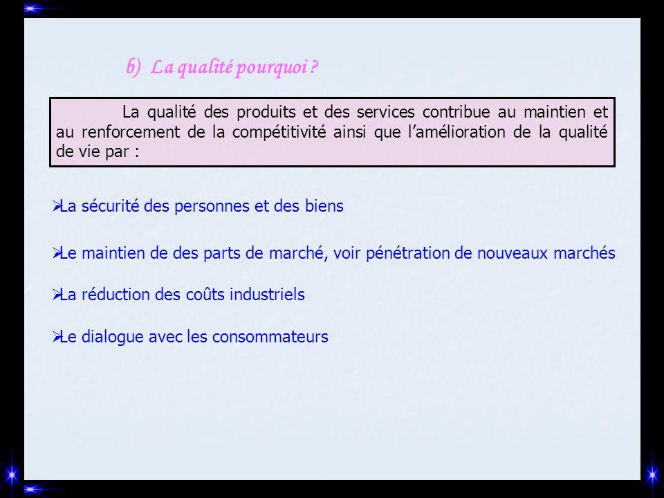 b)La qualité pourquoi ? La qualité des produits et des services contribue au maintien et au renforcement de la compétitivité ainsi que l'amélioration