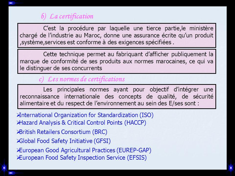 b)La certification C'est la procédure par laquelle une tierce partie,le ministère chargé de l'industrie au Maroc, donne une assurance écrite qu'un pro