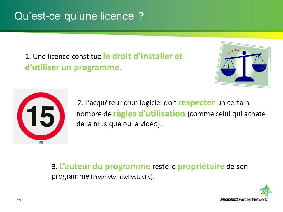 Qu'est-ce qu'une licence ? 12 1. Une licence constitue le droit d'installer et d'utiliser un programme. 3. L'auteur du programme reste le propriétaire