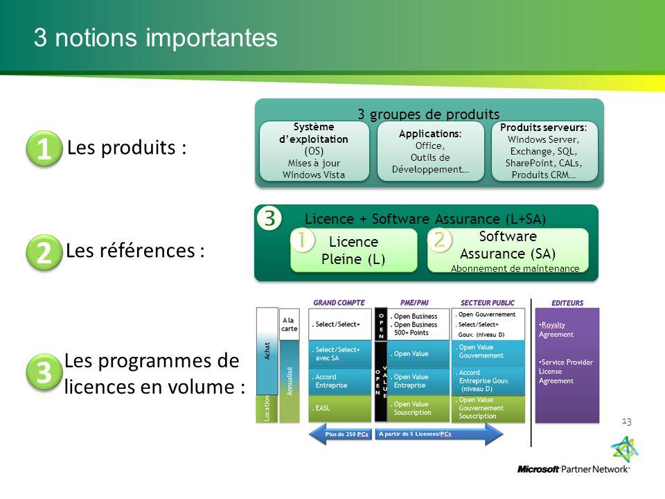 3 notions importantes 13 3 groupes de produits Applications: Office, Outils de Développement… Applications: Office, Outils de Développement… Système d