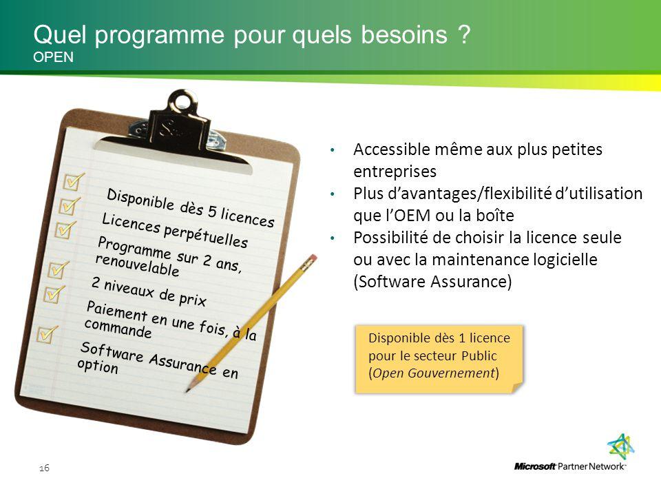 Quel programme pour quels besoins ? 16 OPEN Accessible même aux plus petites entreprises Plus d'avantages/flexibilité d'utilisation que l'OEM ou la bo