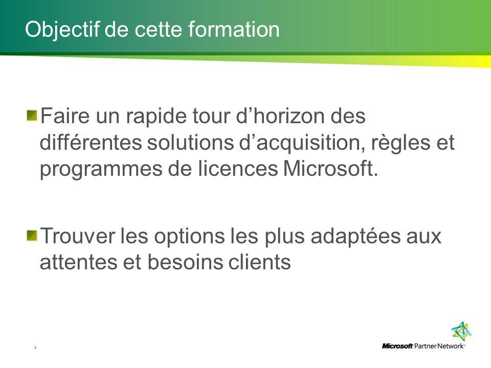 Objectif de cette formation Faire un rapide tour d'horizon des différentes solutions d'acquisition, règles et programmes de licences Microsoft. Trouve