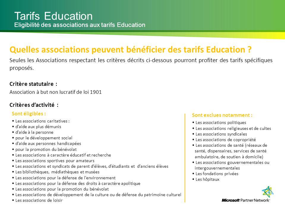 Tarifs Education Eligibilité des associations aux tarifs Education Quelles associations peuvent bénéficier des tarifs Education ? Seules les Associati