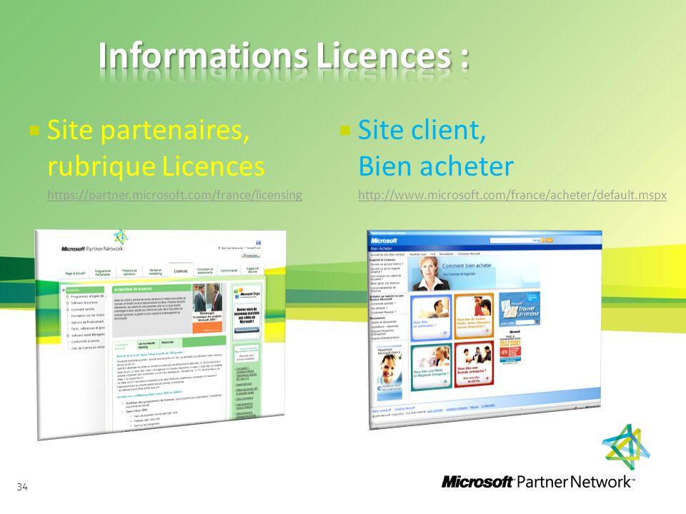 34  Site partenaires, rubrique Licences https://partner.microsoft.com/france/licensing  Site client, Bien acheter http://www.microsoft.com/france/ac