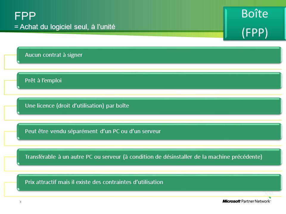 FPP 6 = Achat du logiciel seul, à l'unité Aucun contrat à signerPrêt à l'emploiUne licence (droit d'utilisation) par boîtePeut être vendu séparément d
