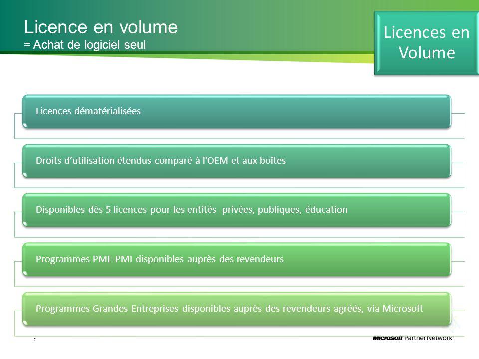 Licence en volume 7 = Achat de logiciel seul Licences dématérialiséesDroits d'utilisation étendus comparé à l'OEM et aux boîtesDisponibles dès 5 licen