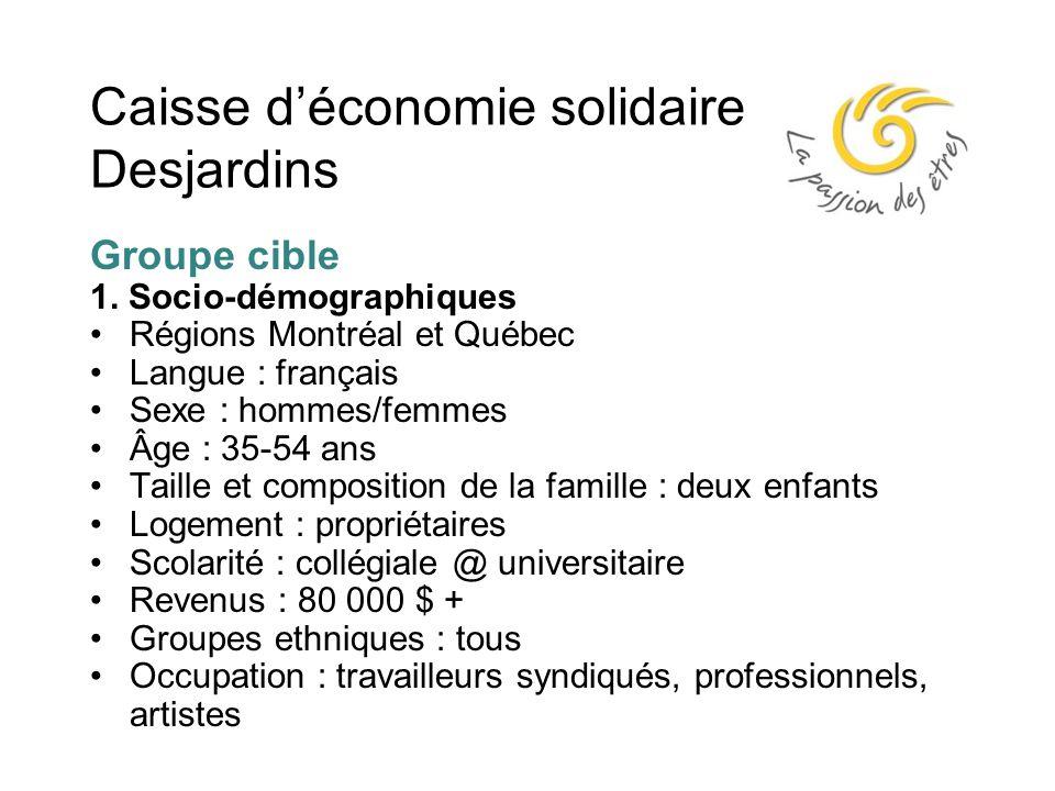 Caisse d'économie solidaire Desjardins Groupe cible 1.
