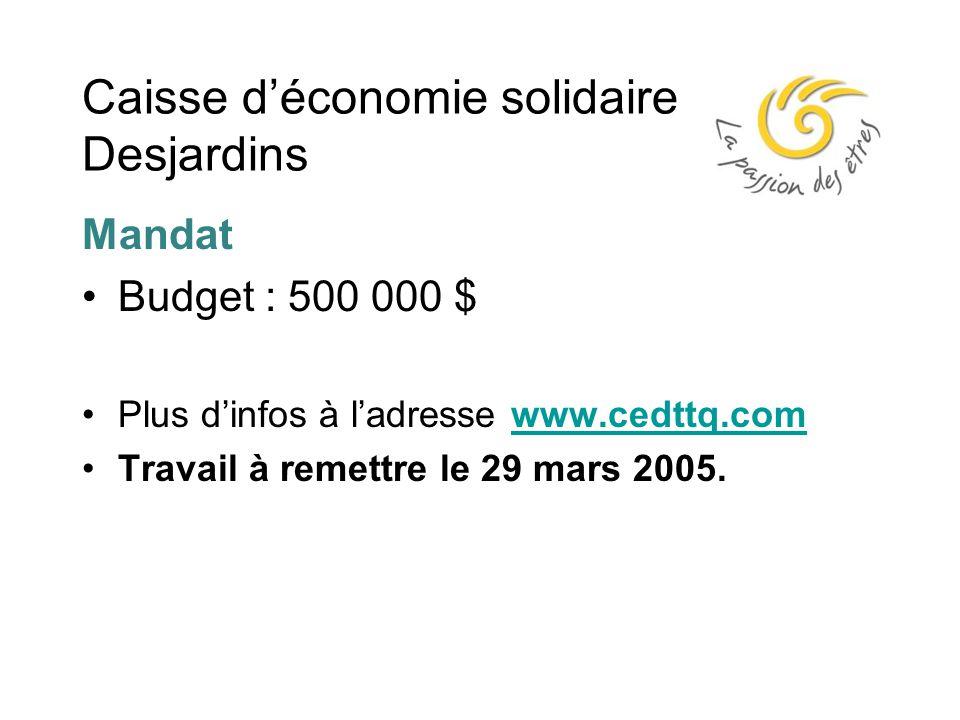 Caisse d'économie solidaire Desjardins Mandat Budget : 500 000 $ Plus d'infos à l'adresse www.cedttq.comwww.cedttq.com Travail à remettre le 29 mars 2005.