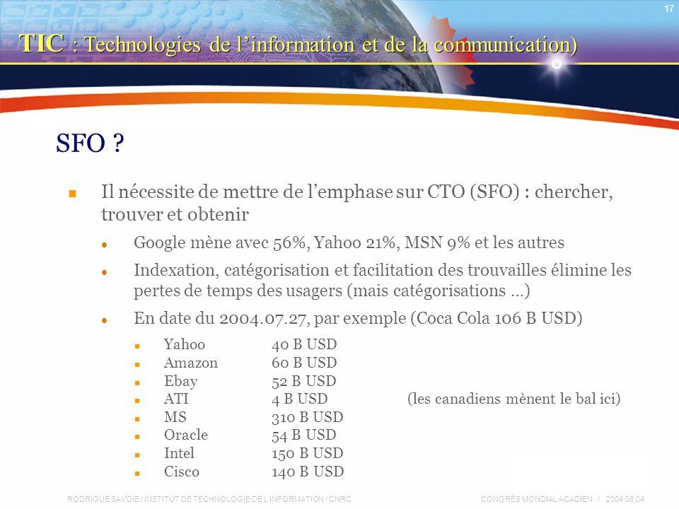 RODRIGUE SAVOIE / INSTITUT DE TECHNOLOGIE DE L'INFORMATION / CNRC 17 CONGRÈS MONDIAL ACADIEN / 2004.08.04 SFO .