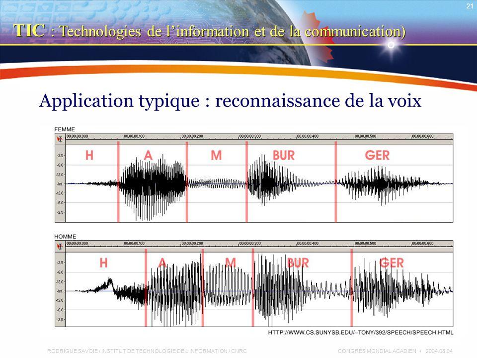 RODRIGUE SAVOIE / INSTITUT DE TECHNOLOGIE DE L'INFORMATION / CNRC 21 CONGRÈS MONDIAL ACADIEN / 2004.08.04 Application typique : reconnaissance de la voix TIC : Technologies de l'information et de la communication)