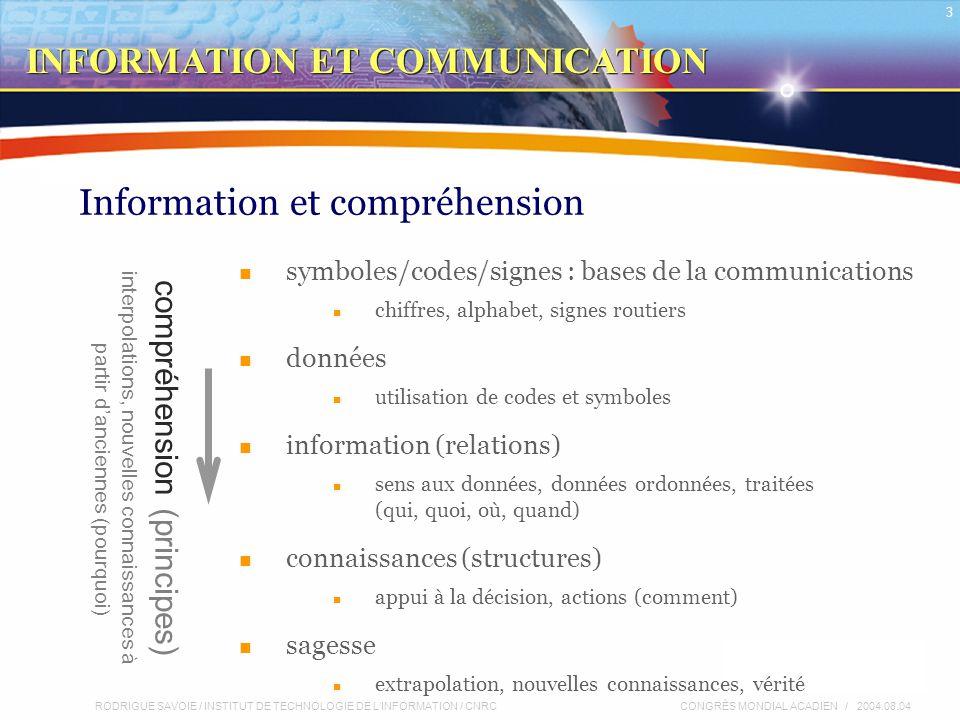 RODRIGUE SAVOIE / INSTITUT DE TECHNOLOGIE DE L'INFORMATION / CNRC 24 CONGRÈS MONDIAL ACADIEN / 2004.08.04