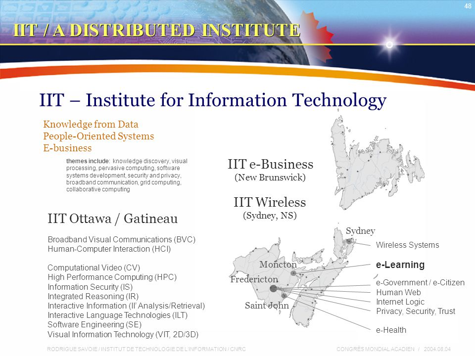 RODRIGUE SAVOIE / INSTITUT DE TECHNOLOGIE DE L'INFORMATION / CNRC 48 CONGRÈS MONDIAL ACADIEN / 2004.08.04 IIT – Institute for Information Technology IIT e-Business (New Brunswick) IIT Wireless (Sydney, NS) Moncton Fredericton Saint John Sydney Broadband Visual Communications (BVC) Human-Computer Interaction (HCI) Computational Video (CV) High Performance Computing (HPC) Information Security (IS) Integrated Reasoning (IR) Interactive Information (II' Analysis/Retrieval) Interactive Language Technologies (ILT) Software Engineering (SE) Visual Information Technology (VIT, 2D/3D) Wireless Systems e-Learning e-Government / e-Citizen Human Web Internet Logic Privacy, Security, Trust e-Health IIT Ottawa / Gatineau Knowledge from Data People-Oriented Systems E-business themes include: knowledge discovery, visual processing, pervasive computing, software systems development, security and privacy, broadband communication, grid computing, collaborative computing IIT / A DISTRIBUTED INSTITUTE