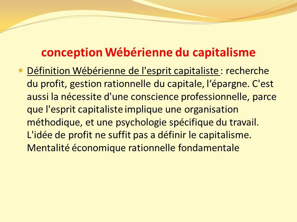 conception Wébérienne du capitalisme Définition Wébérienne de l esprit capitaliste : recherche du profit, gestion rationnelle du capitale, l'épargne.