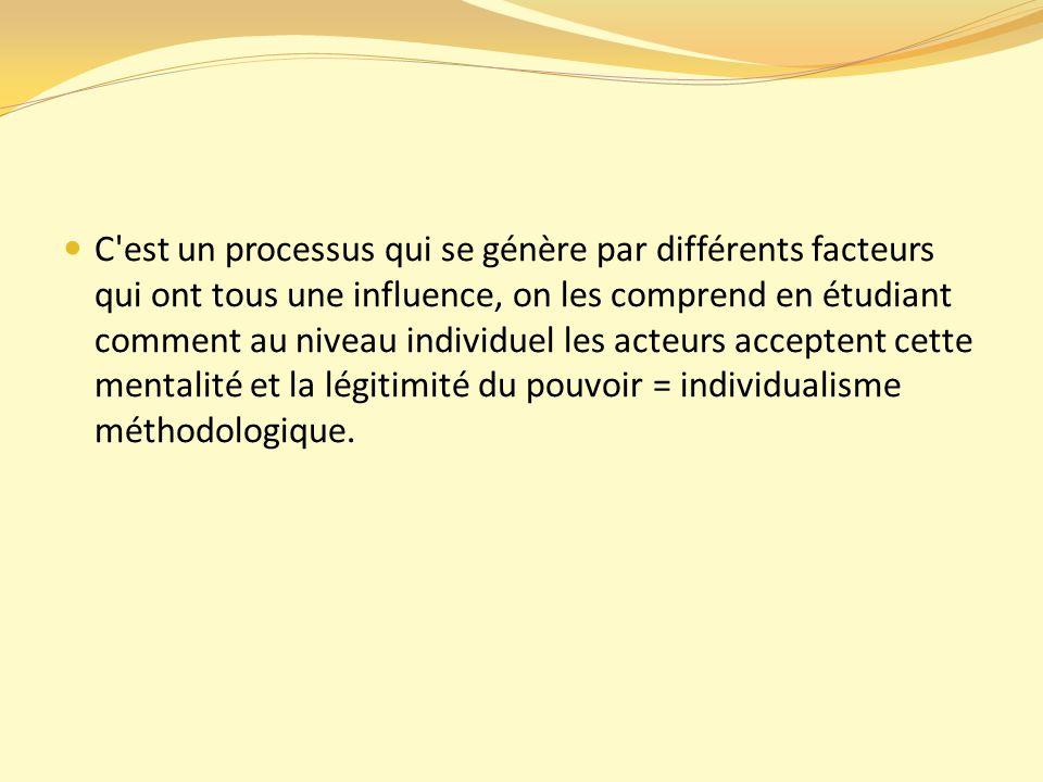 C est un processus qui se génère par différents facteurs qui ont tous une influence, on les comprend en étudiant comment au niveau individuel les acteurs acceptent cette mentalité et la légitimité du pouvoir = individualisme méthodologique.