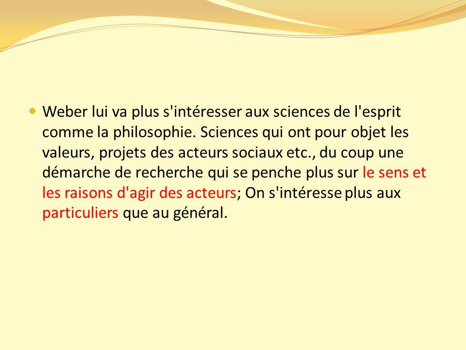 Weber lui va plus s intéresser aux sciences de l esprit comme la philosophie.