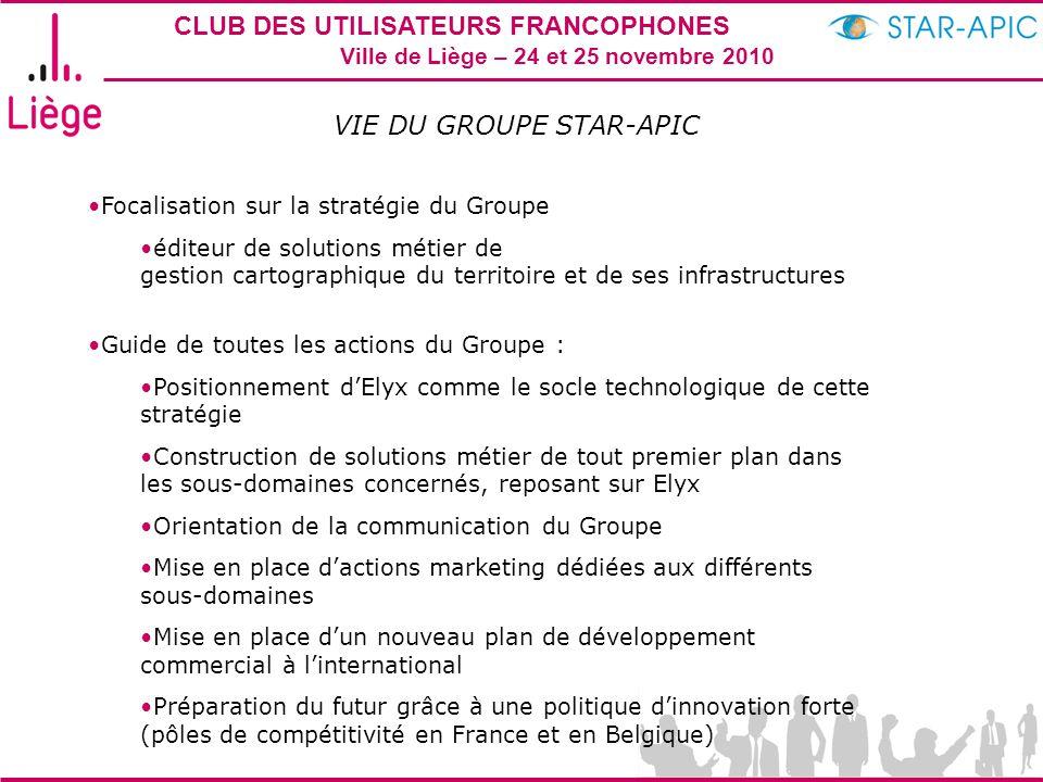 CLUB DES UTILISATEURS FRANCOPHONES STAR-APIC 2010 Ville de Liège – 24 et 25 novembre 2010 VIE DU GROUPE STAR-APIC Focalisation sur la stratégie du Gro