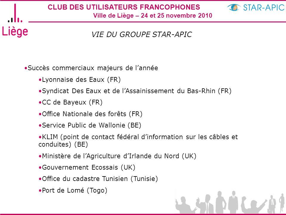 CLUB DES UTILISATEURS FRANCOPHONES STAR-APIC 2010 Ville de Liège – 24 et 25 novembre 2010 VIE DU GROUPE STAR-APIC Succès commerciaux majeurs de l'anné