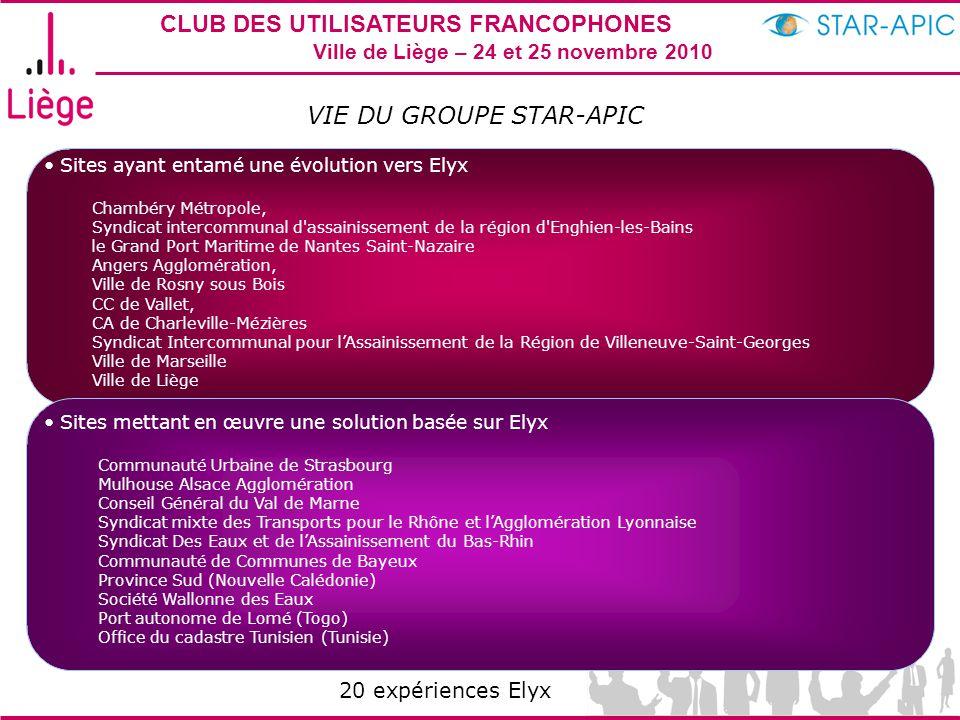 CLUB DES UTILISATEURS FRANCOPHONES STAR-APIC 2010 Ville de Liège – 24 et 25 novembre 2010 VIE DU GROUPE STAR-APIC Sites ayant entamé une évolution ver