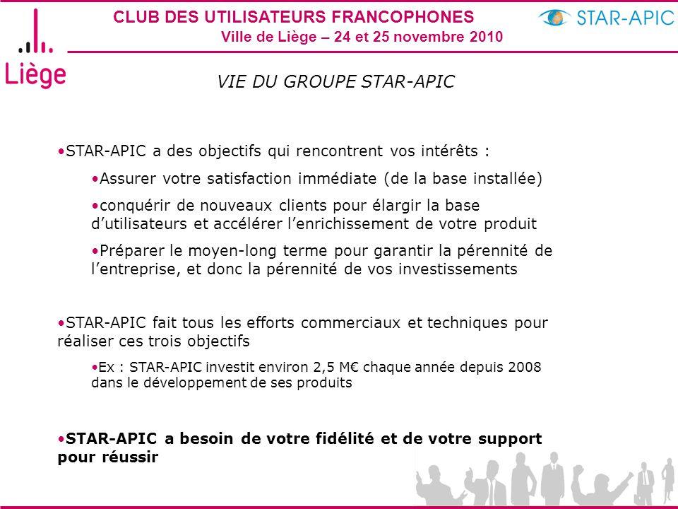 CLUB DES UTILISATEURS FRANCOPHONES STAR-APIC 2010 Ville de Liège – 24 et 25 novembre 2010 VIE DU GROUPE STAR-APIC STAR-APIC fait tous les efforts comm