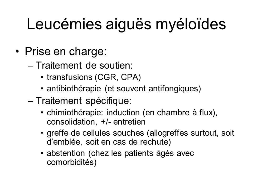 Leucémies aiguës myéloïdes Prise en charge: –Traitement de soutien: transfusions (CGR, CPA) antibiothérapie (et souvent antifongiques) –Traitement spé