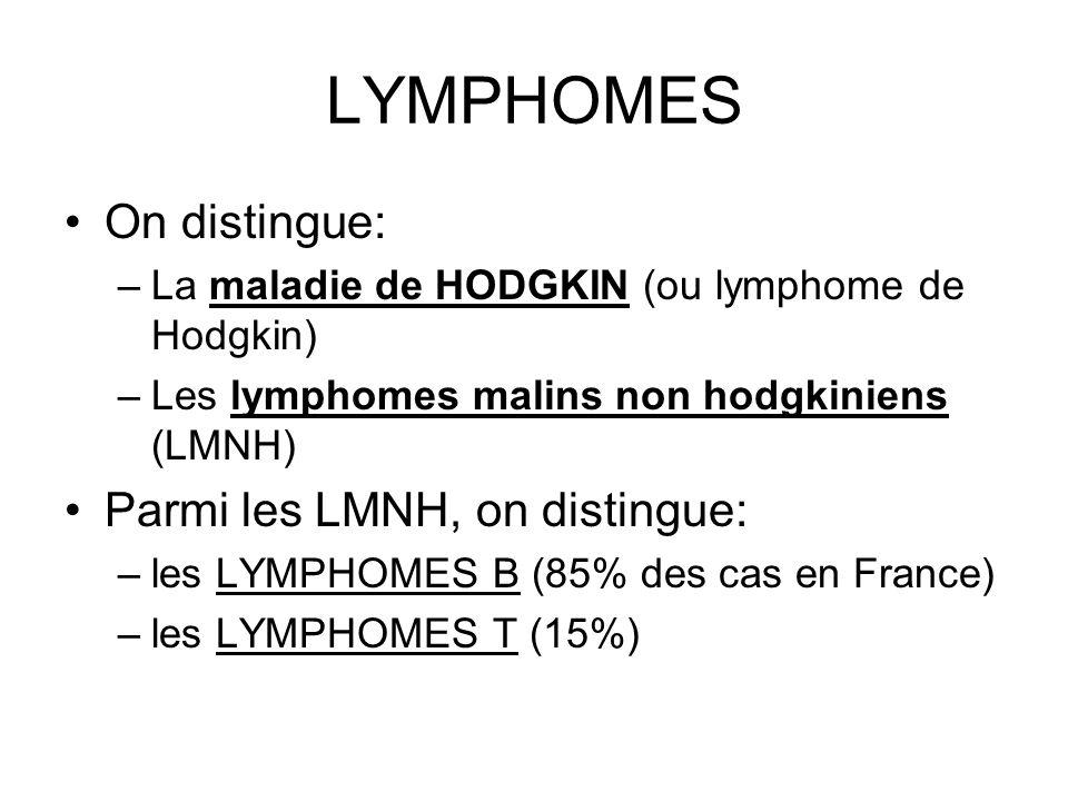LYMPHOMES On distingue: –La maladie de HODGKIN (ou lymphome de Hodgkin) –Les lymphomes malins non hodgkiniens (LMNH) Parmi les LMNH, on distingue: –le