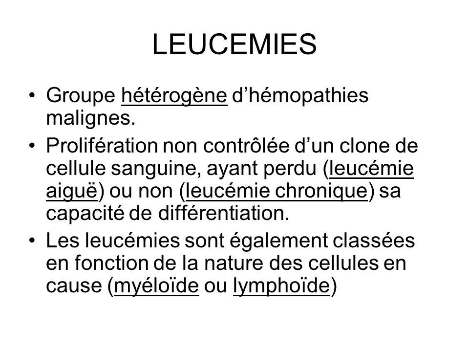 LEUCEMIES Groupe hétérogène d'hémopathies malignes. Prolifération non contrôlée d'un clone de cellule sanguine, ayant perdu (leucémie aiguë) ou non (l
