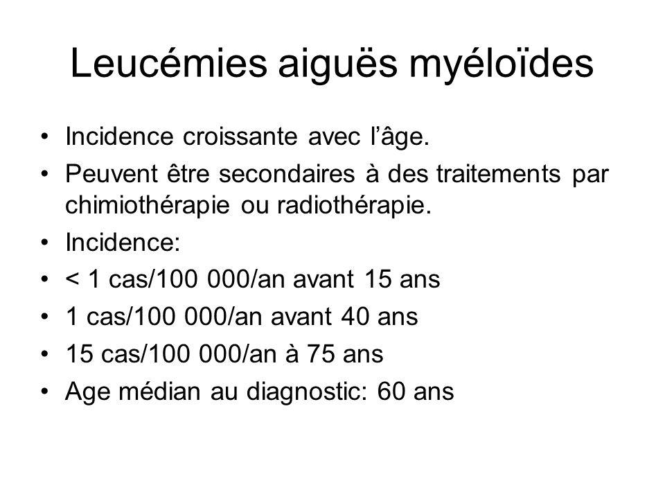 Leucémies aiguës myéloïdes Incidence croissante avec l'âge. Peuvent être secondaires à des traitements par chimiothérapie ou radiothérapie. Incidence: