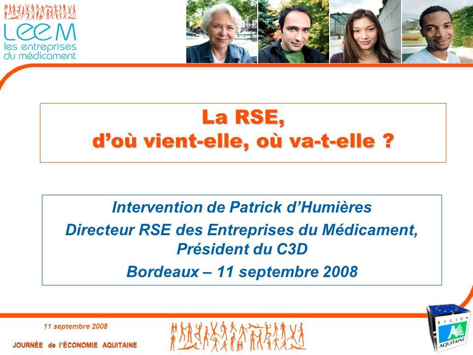 11 septembre 2008 1 La RSE, d'où vient-elle, où va-t-elle ? Intervention de Patrick d'Humières Directeur RSE des Entreprises du Médicament, Président