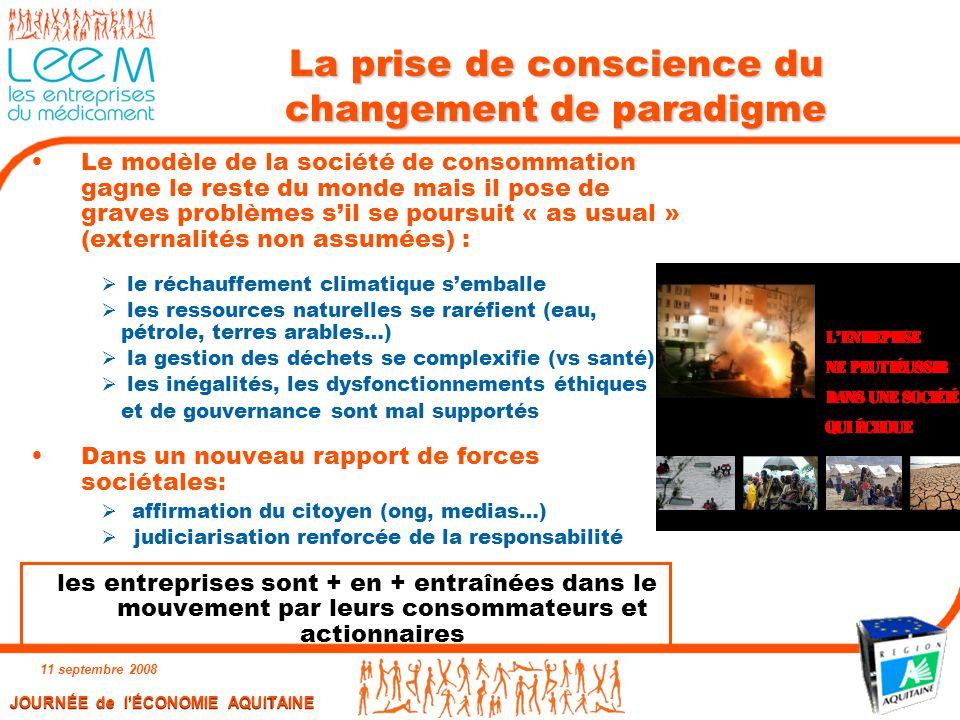 JOURNÉE de l'ÉCONOMIE AQUITAINE 11 septembre 2008 10 La prise de conscience du changement de paradigme Le modèle de la société de consommation gagne l
