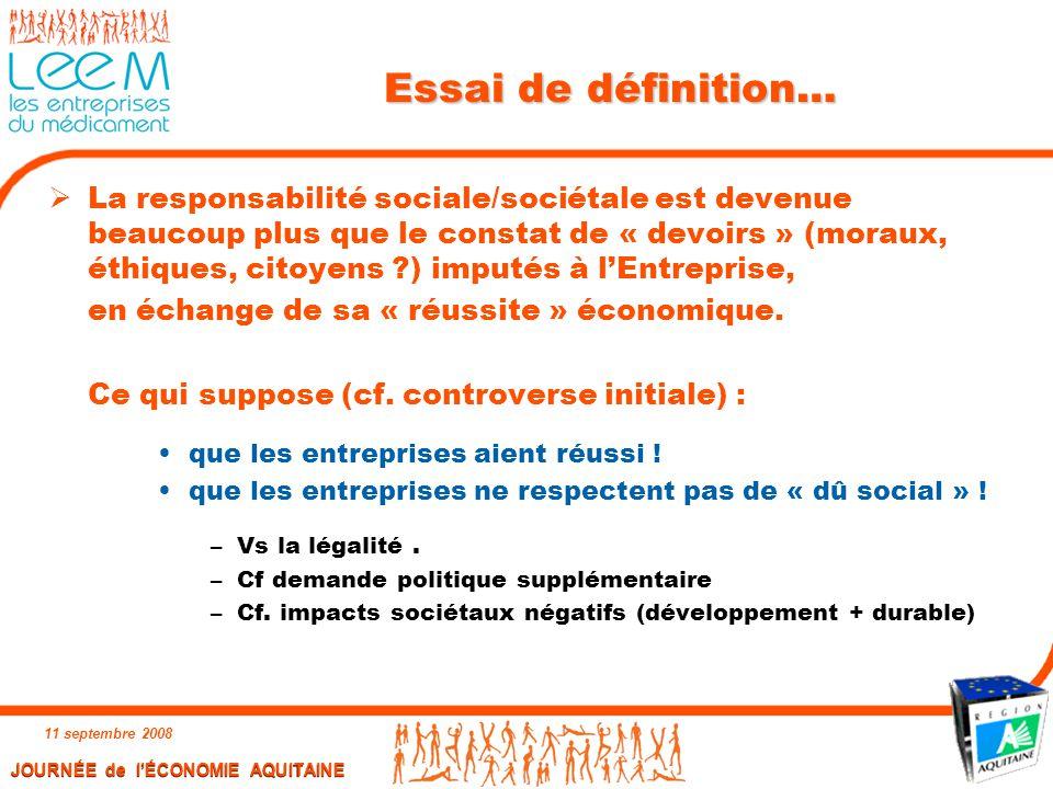 11 septembre 2008 2 Essai de définition…  La responsabilité sociale/sociétale est devenue beaucoup plus que le constat de « devoirs » (moraux, éthiqu